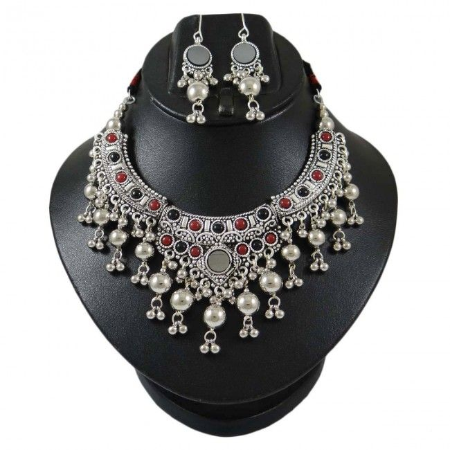 Necklace with Earrings Set in Banjara style http://indianbeautifulart.com/new-kuchi-tribal-oxidized-necklace-belly-dance-vintage-women-indian-jewellery-133404.html