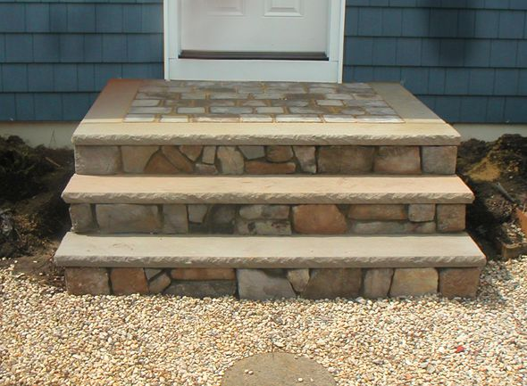 Stone Facing Stairs This Plain Brick Stair Has Been