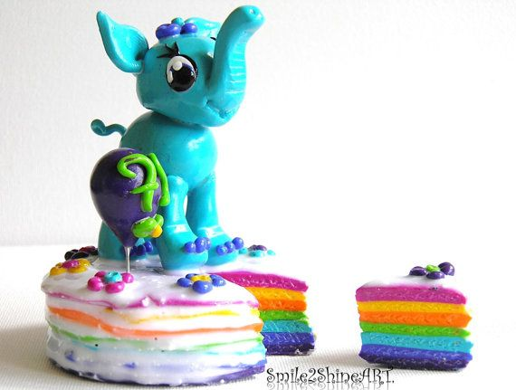 Polymer clay elephant Baby elephant cake topper by Smile2ShineArt