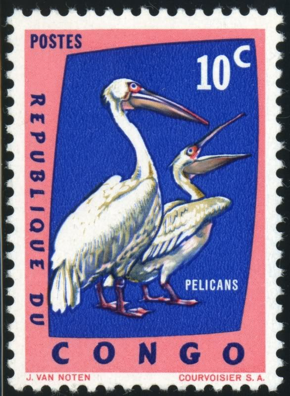 This is a stamp from Congo.I really like the design and how their stamps have pelicans on them.