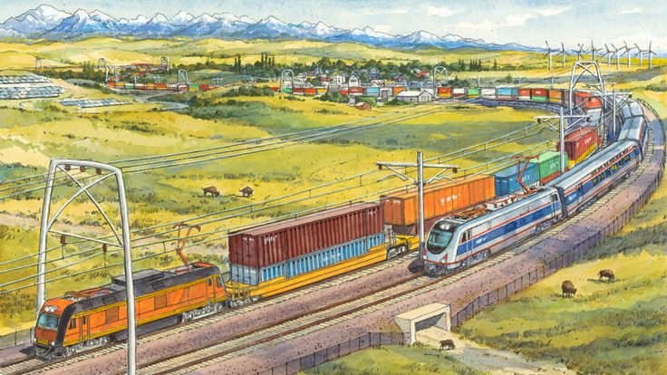 A new proposal calls for electrifying railroads, running them on renewable energy, and using rail corridors as clean-power superhighways.