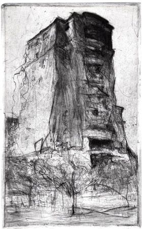 """Apartment, Bethesda drypoint 8"""" x 5"""" Lee Newman"""