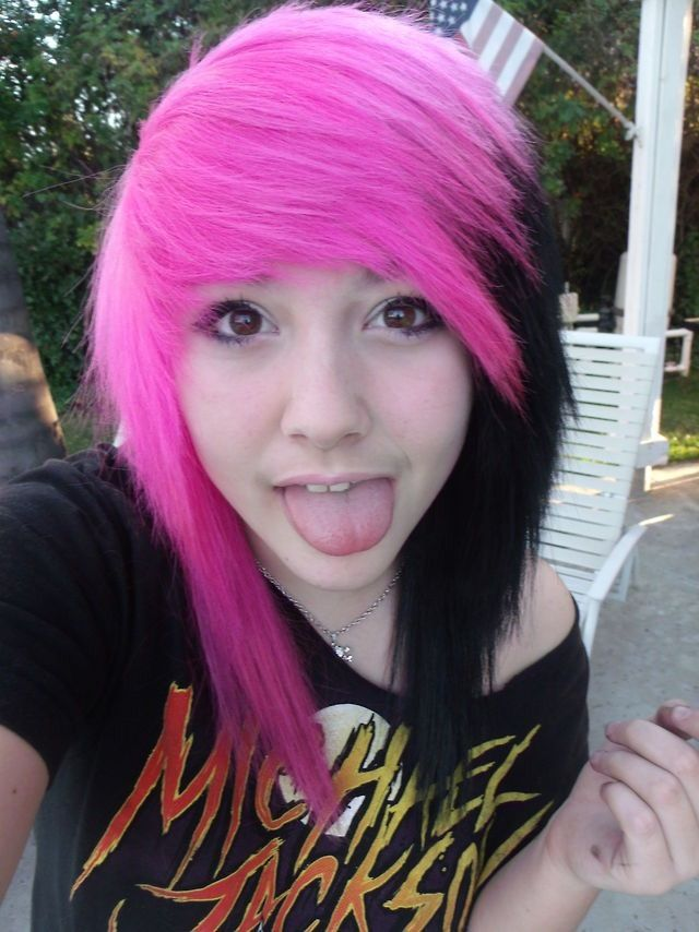 pink and black hair