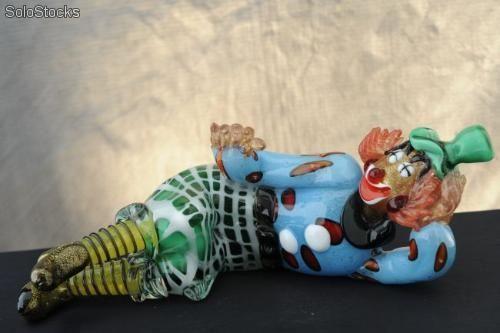 Pagliaccio sdraiato in vetro di Murano - Sculture artistiche - Linea pagliacci clown - p019bcm33