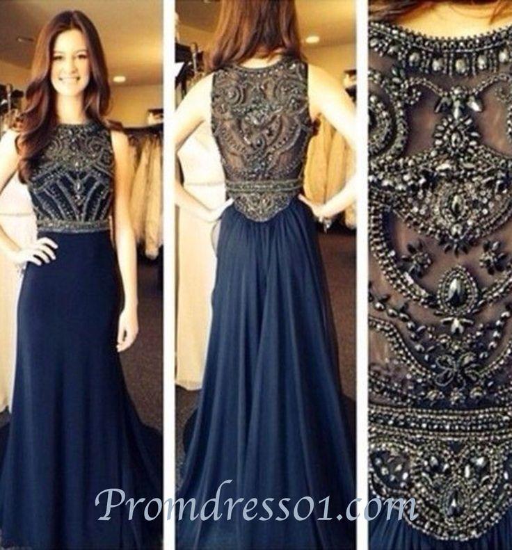 2015 Elegant navy beaded chiffon long prom dress for teens, evening dress, ball gown, cute dresses, bridesmaid dress #promdress #wedding