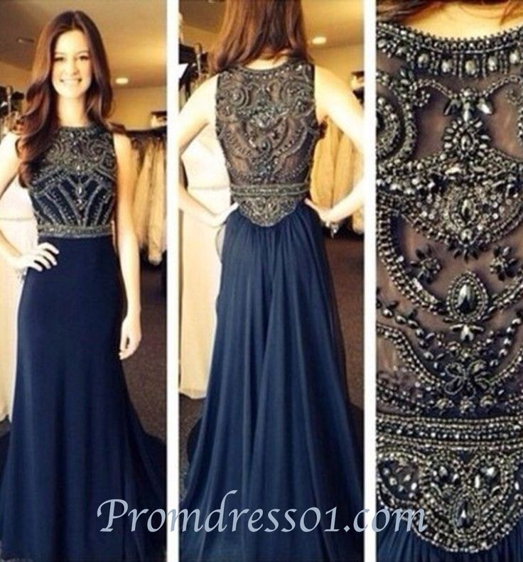 2015 Elegant navy beaded chiffon long prom dress for teens, evening dress, ball gown, cute dresses, bridesmaid dress #promdress #wedding