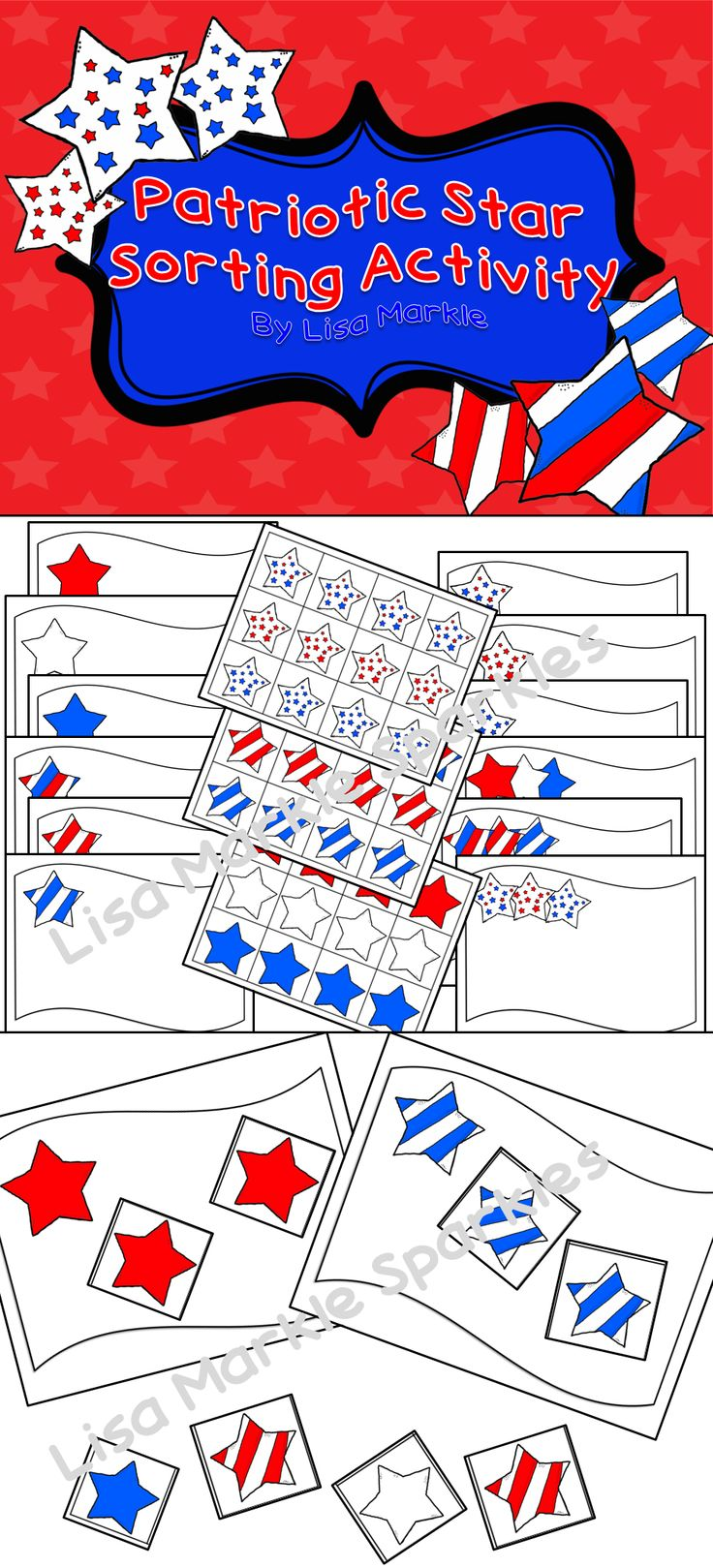 Practice pattern and color recognition while celebrating Veteran's Day, President's Day, Fourth of July, Memorial Day, and Labor Day! Sort the red, white, and blue stars on an assorted set of flag printables! You can adapt this activity to your students' skill level. The stars can be sorted by color, pattern, or both! Print and laminate to make a great math center activity!
