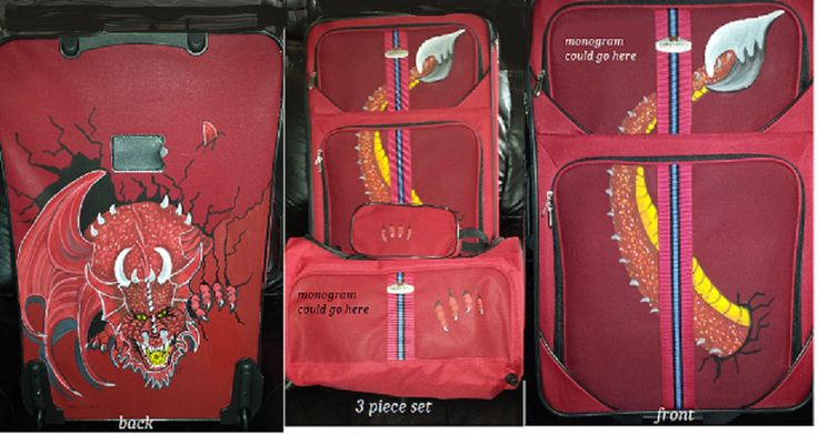 "Red dragon, 3 piece set 26 "" roller & 20"" carry on, 9 "" kit by artwilltravel on Etsy"