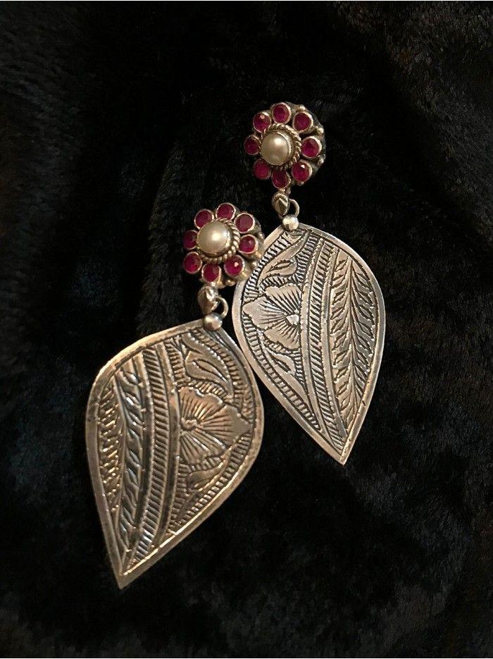 Ruby Pearl Stud Handcrafted Leaf Silver Earrings