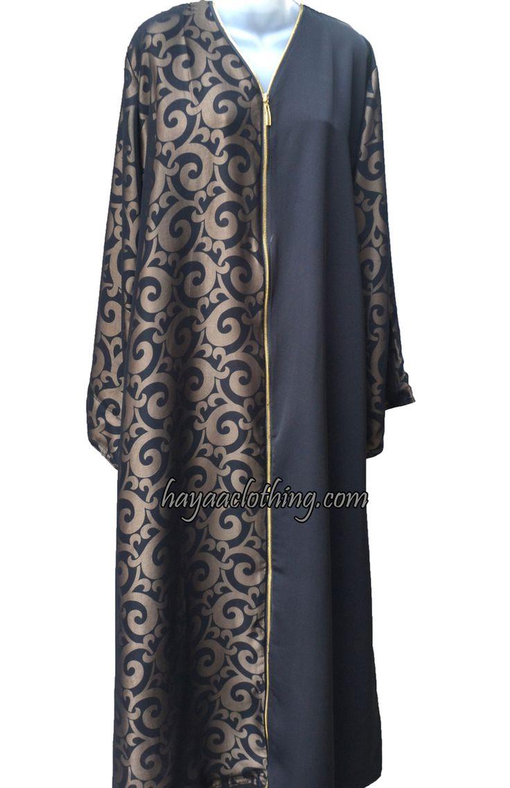 Hayaa Clothing - Suria Antique Gold Swirl Satin Zip-Front Khaleeji Abaya   Hijab, $85.99 (http://www.hayaaclothing.com/suria-antique-gold-swirl-satin-zip-front-khaleeji-abaya-hijab/)