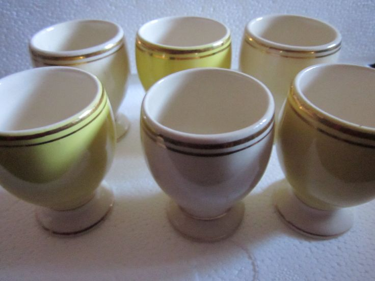 Set Of Six White Ana Yellow Coloured Egg Cups  Vintage Egg Cups, FS Romanian Porcelain, Mid Century Modern Egg Cups by Yesterdayshome on Etsy