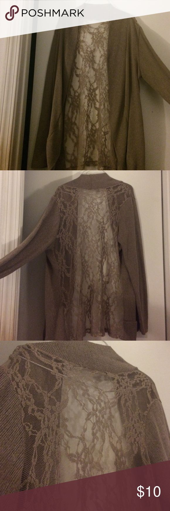 Khaki colored Lace cardigan I have a khaki/dark tan colored cardigan. Back is mostly all Lace apart from the neck trim. No rips in the Lace and no pockets. Thinner but oversized. Does not have tags but I originally bought from forever 21+ line. Would fit L-1x. Maybe even a medium if you want the oversized look. Forever 21 Sweaters Cardigans