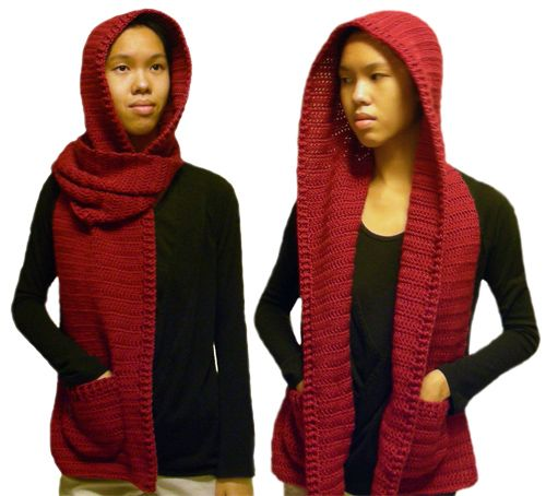 Knitted Hooded Scarf With Pockets Pattern : Best 25+ Hooded scarf ideas on Pinterest Crochet hooded scarf, Crochet hood...