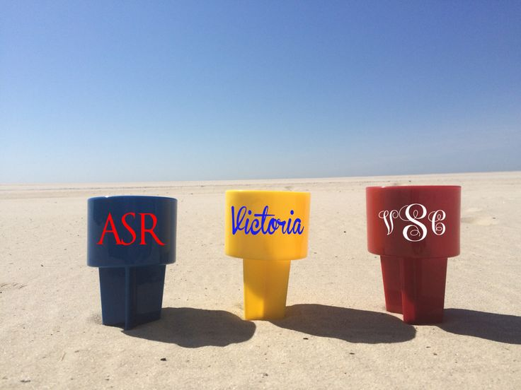 Sand spiker drink holder - beach cup holder - personalized by PaperPerfectCreation on Etsy https://www.etsy.com/listing/233301845/sand-spiker-drink-holder-beach-cup