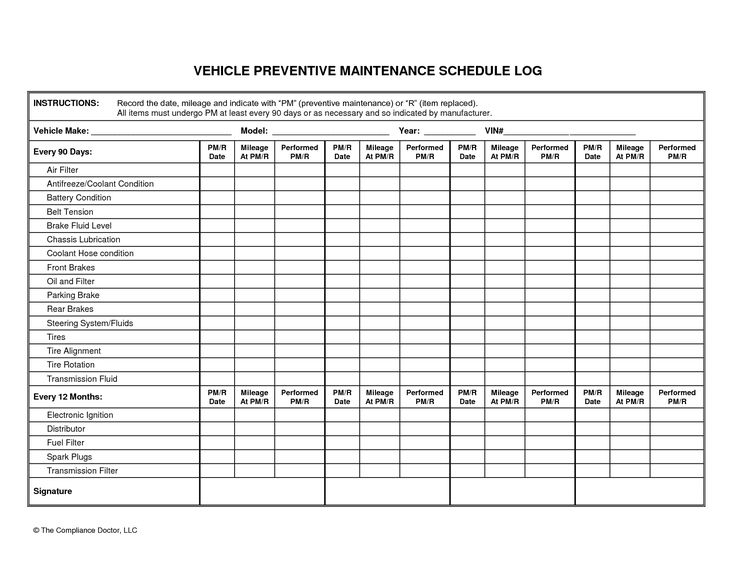 Vehicle Preventive Maintenance Schedule Log Automotive Wolf Car Maintenance Log Software for Windows computers monitors your automobile routine maintenance plan and reminds you whenever any service is required. Check it out for the thirty Day Free Offer Right now! http://www.lonewolf-software.com/automotivewolf.htm