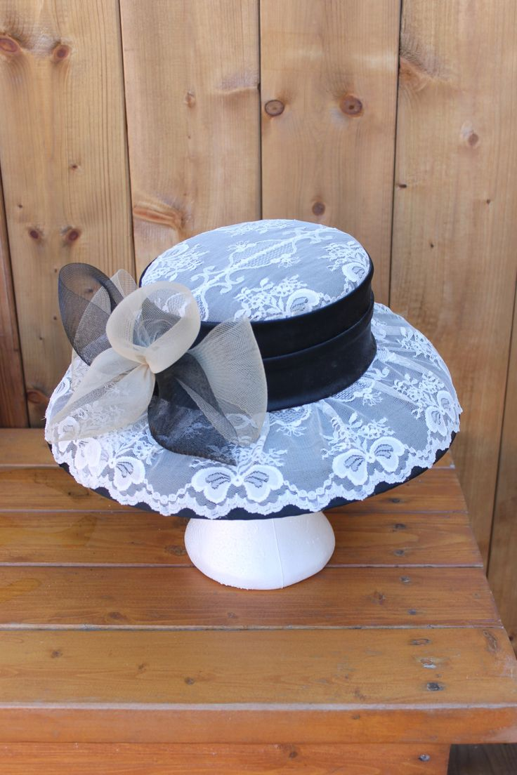 Vintage Ladies' 1960s Off to the Races Lace and Straw Hat by shacklesoff on Etsy