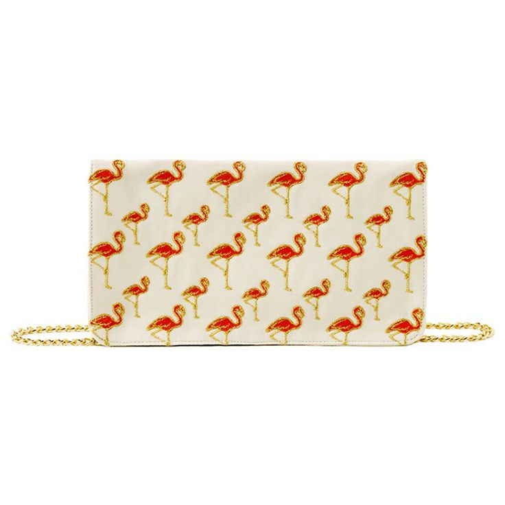 Flamingo print cotton canvas clutch purse. Gold hardware cross-body chain. Flap with magnetic snap closure. Inner zip pocket.