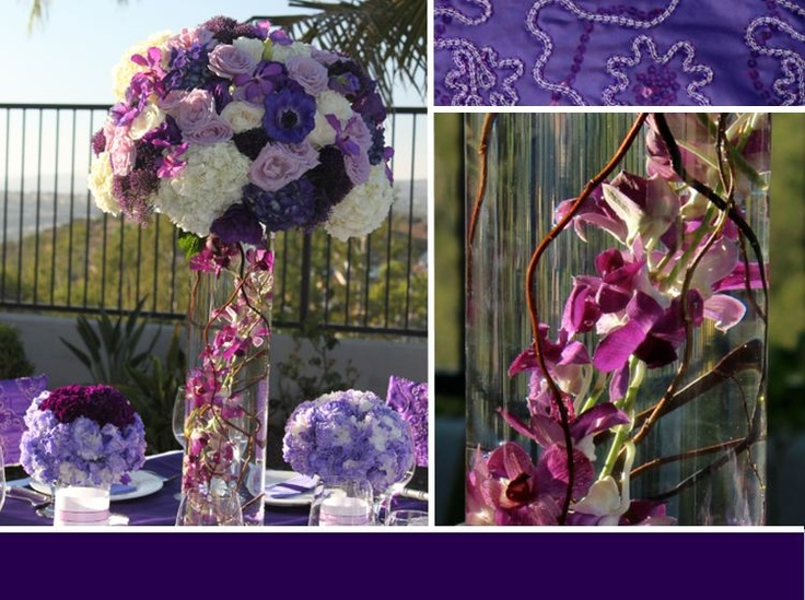 wedding flowers  www.myfloweraffair.com  tall purple wedding flowers, roses, hydrangeas, curly willow, carnations, carnation balls