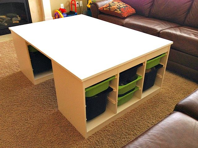 Genius! May work for a kid's workstation........Lego Logistics - IKEA Hackers