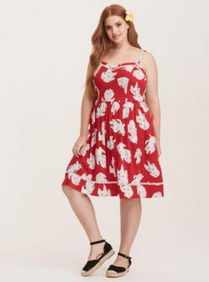 Disney Lilo & Stitch Red & White Floral Print Skater Dress in Purple