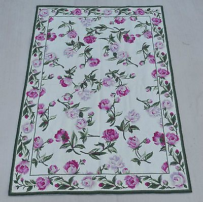 4 X6 Handmade Wool Toile Portuguese Needlepoint Area Rug W Pink Roses Allover