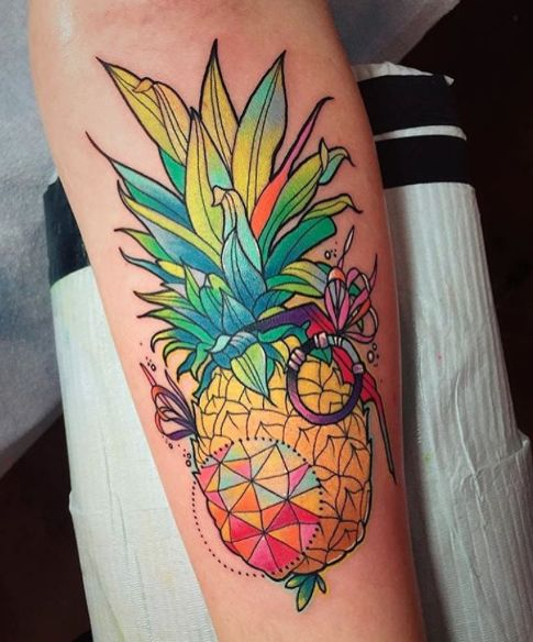 Colorful Pineapple Tattoo by Katie Shocrylas....wowowwow