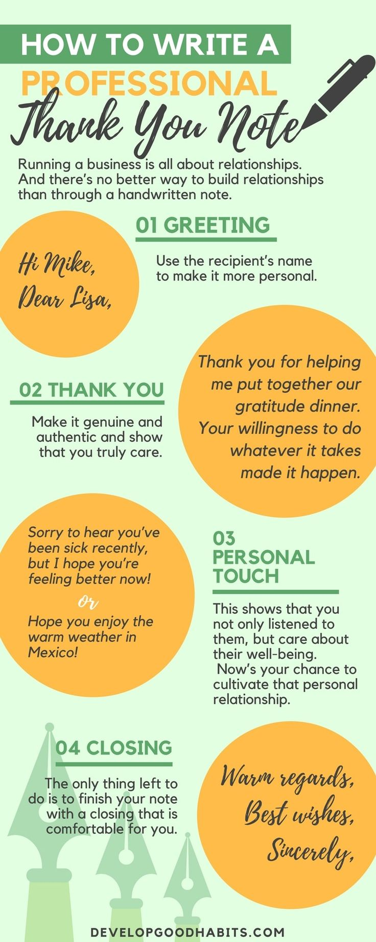 Learn how to word a professional thank you note to send to your business connections. #infographic #business #career #cashflow #entrepreneurs #money #productivity #success #tips #thankyou #cards #success #gratitude #selfcare