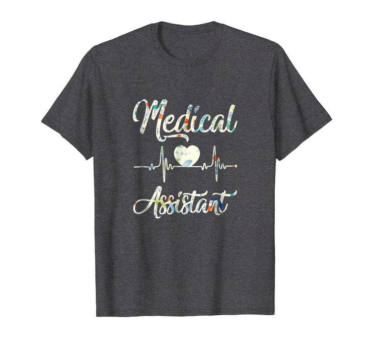 Cute medical assistant ekg heart tshirt gift in 2020 t