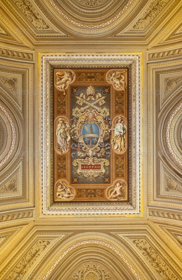 Ceiling painting with the coat of arms of Pope Leo XIII. by rcaucino. Ceiling painting with the coat of arms of Pope Leo XIII.
