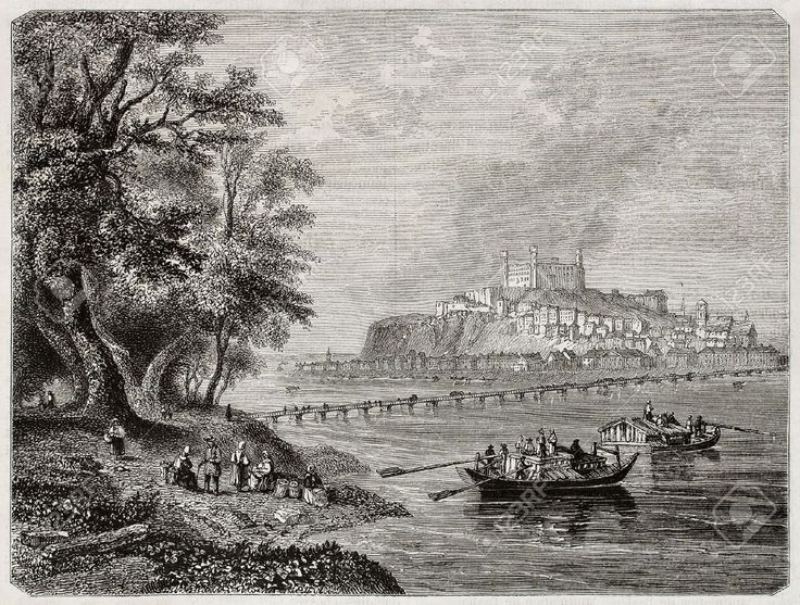 "Old view of Pressburg Freeman and Best .Published in Magazine Pittoresque "" Paris 1850"