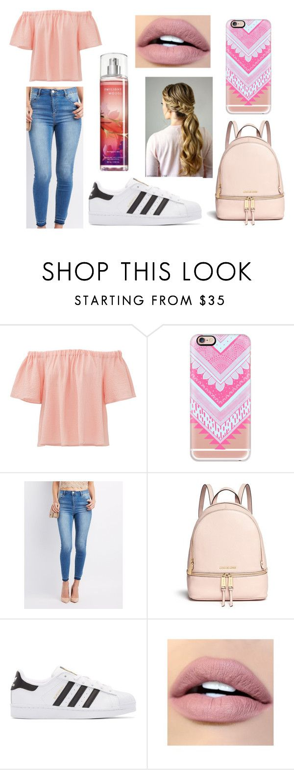 """""""Inspired by: The Color Pink"""" by basketballislife11 ❤ liked on Polyvore featuring Rebecca Taylor, Casetify, Refuge, Michael Kors, adidas Originals and ColourPop"""