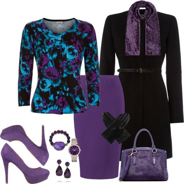 A fashion look from December 2014 featuring black floral cardigan, black wool coat and purple pencil skirt. Browse and shop related looks.
