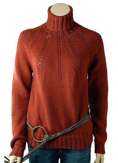 """Pilar is an exquisite turtleneck pullover. At the yoke, bands of eyelet detailing radiate from the neckline. Shown in size Small Sizes Directions are for women's size X-Small. Changes for sizes Small, Medium, Large and X-Large are in parentheses. Finished Measurements Bust – 34(38-42-46-50)"""" Length – 23 1/4(23 3/4-24 1/4-24 3/4-25 1/4)"""" Materials 14(16-18-21-23) Balls Berroco Pure Merino(50 grs), #8532 Brick"""