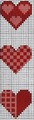 cross stitch hearts bookmark chart... no color chart available, just use pattern chart as your color guide.. or choose your own colors...