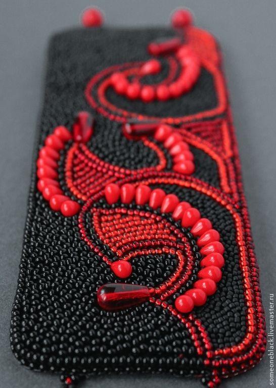 Вулканическая лава. Опять. - ярко-красный,черный,браслет,бисер,вышивка
