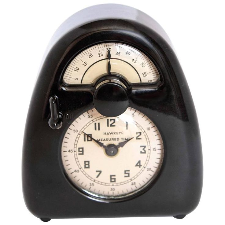 Pristine Streamline Bakelite  Isamu Noguchi Hawkeye Measured Time Clock / Timer   From a unique collection of antique and modern clocks at https://www.1stdibs.com/furniture/decorative-objects/clocks/