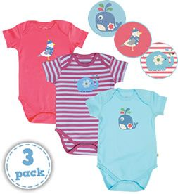 #Frugi Whale & Friends 3 Pack Bodies