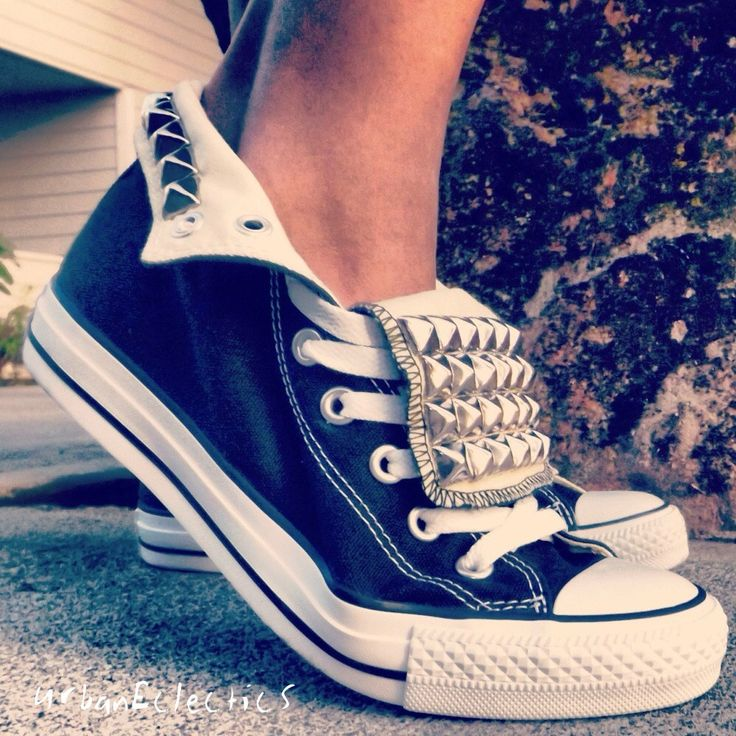 Studded Hi Top Chuck Taylor Converse: Chuck Taylors, Fashion, Style, Clothes, High Top, Studded Converse, Converse Shoes, Studded Chuck, Diy