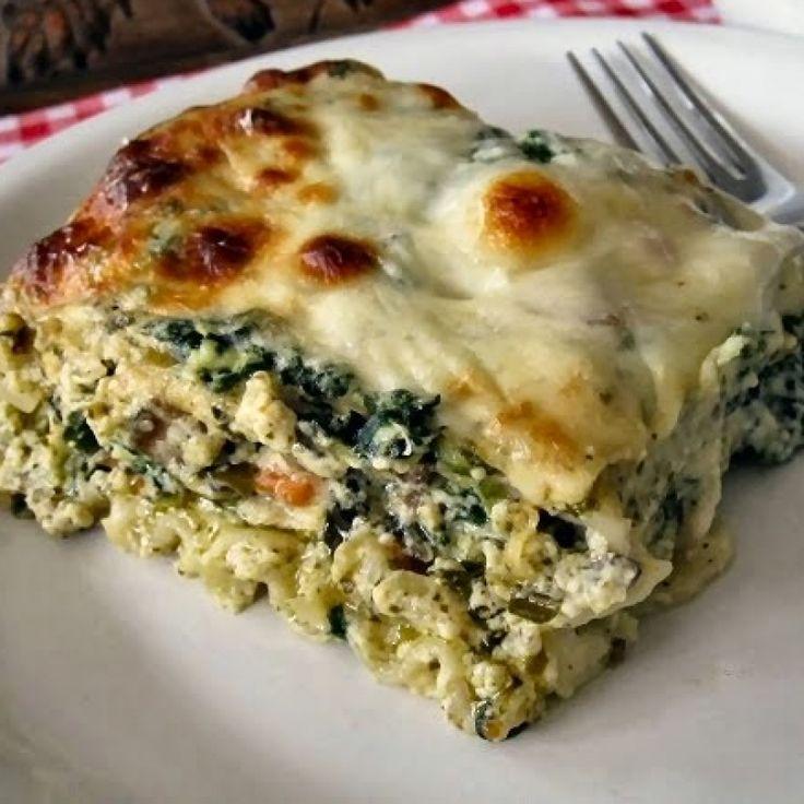 . Spinach Mushroom and Pesto Lasagna Recipe from Grandmothers Kitchen.