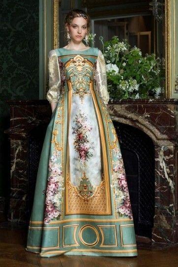 Vestito con disegno Alberta Ferretti - Modello a manica lunga con disegno fra gli abiti Haute Couture autunnoinverno 20152016 a Parigi