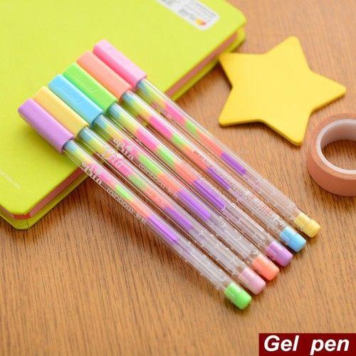 6 шт./лот радуга ручка гелевая многоцветный 0.8 мм роллеры флуоресценции маркер для черная бумага канцтовары школьные принадлежности 6555купить в магазине V&P Home Beauty Co.,LtdнаAliExpress