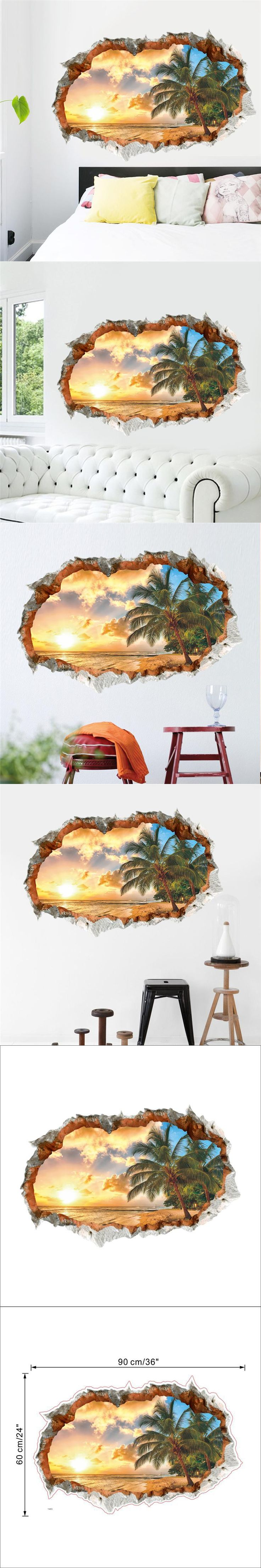 sunset sea beach wall decals decorative stickers living bedroom home decor 1483. 3d scenery mural art diy landscape posters 2.5 $5.6