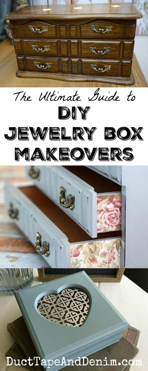 Ultimate guide to DIY jewelry box makeovers. Where to find them, how to paint, decoupage, and add other embellishments to update your thrift store finds. | DuctTapeAndDenim.com