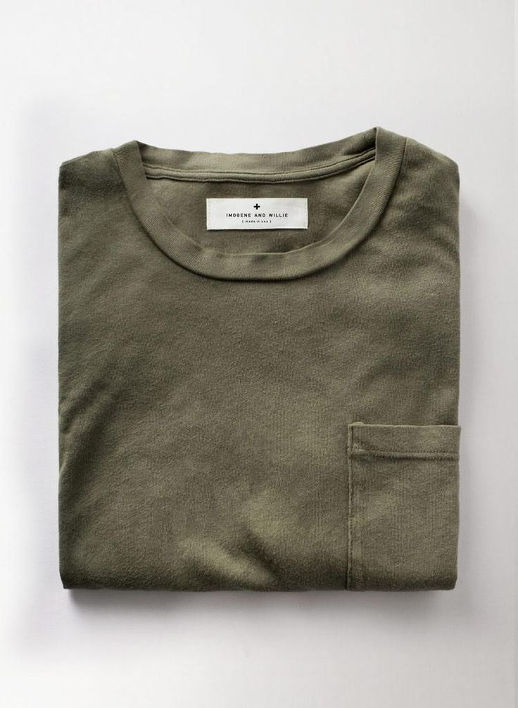 olive knit pocket tee