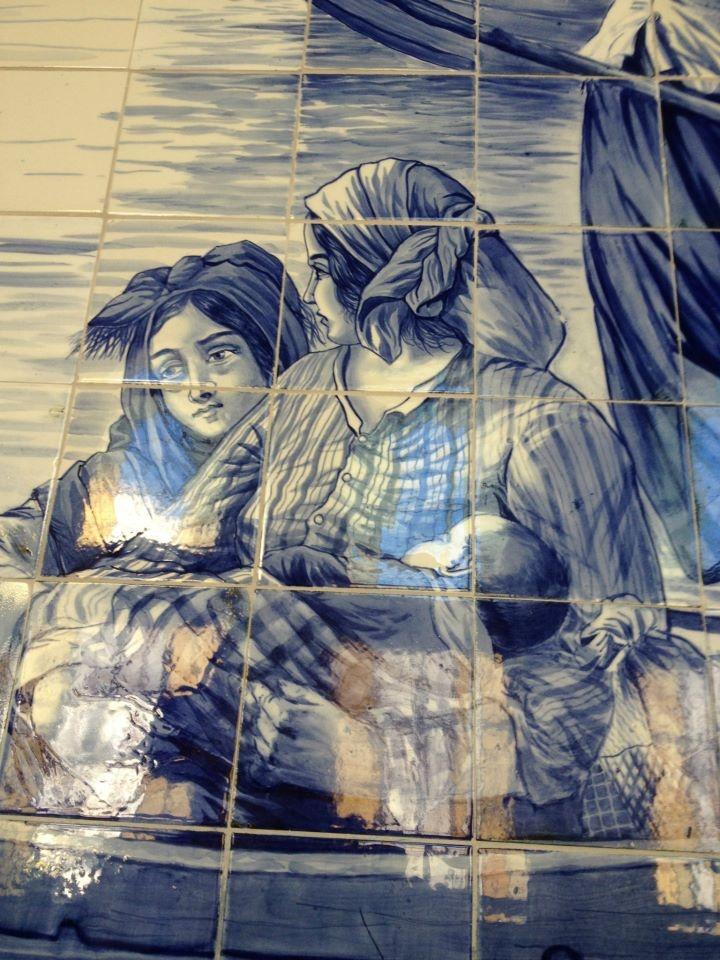 Detail of tile mural in Porto train station. Portugal.