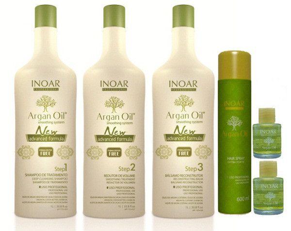 Inoar Argan Oil Escova Progressiva Sem Formol 3x1litro e Spray Extra Forte 500ml