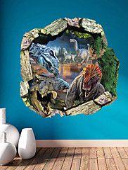wall+stickers+Vægoverføringsbilleder,+3d+urskov+dinosaurer+pvc+væg+sticker+–+DKK+kr.+407