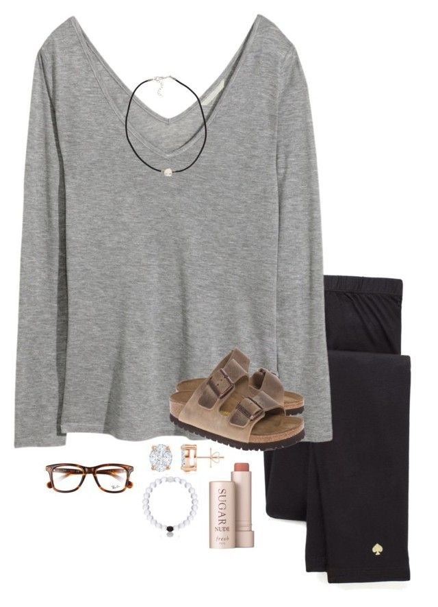 """""""300?!?!?! OMG THANK YOU"""" by avaodom ❤ liked on Polyvore featuring Fresh, Kate Spade, H&M, Ray-Ban, Birkenstock and NLY Accessories"""