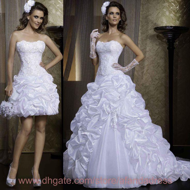 2015 New Vintage Detachable Wedding Dresses Strapless Organza Lace Applique Ruffles Pick-up Court Train A Line Backless Bridal Gowns LT69