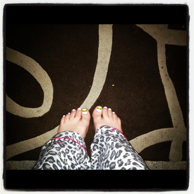 #photoadayjune Day 22 - High angle. My freshly painted #penrithpanthers toes.